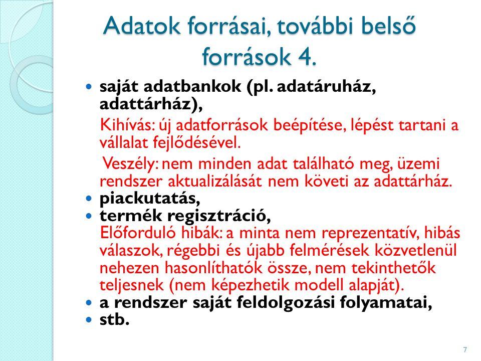 Adatok forrásai, további belső források 4. saját adatbankok (pl.