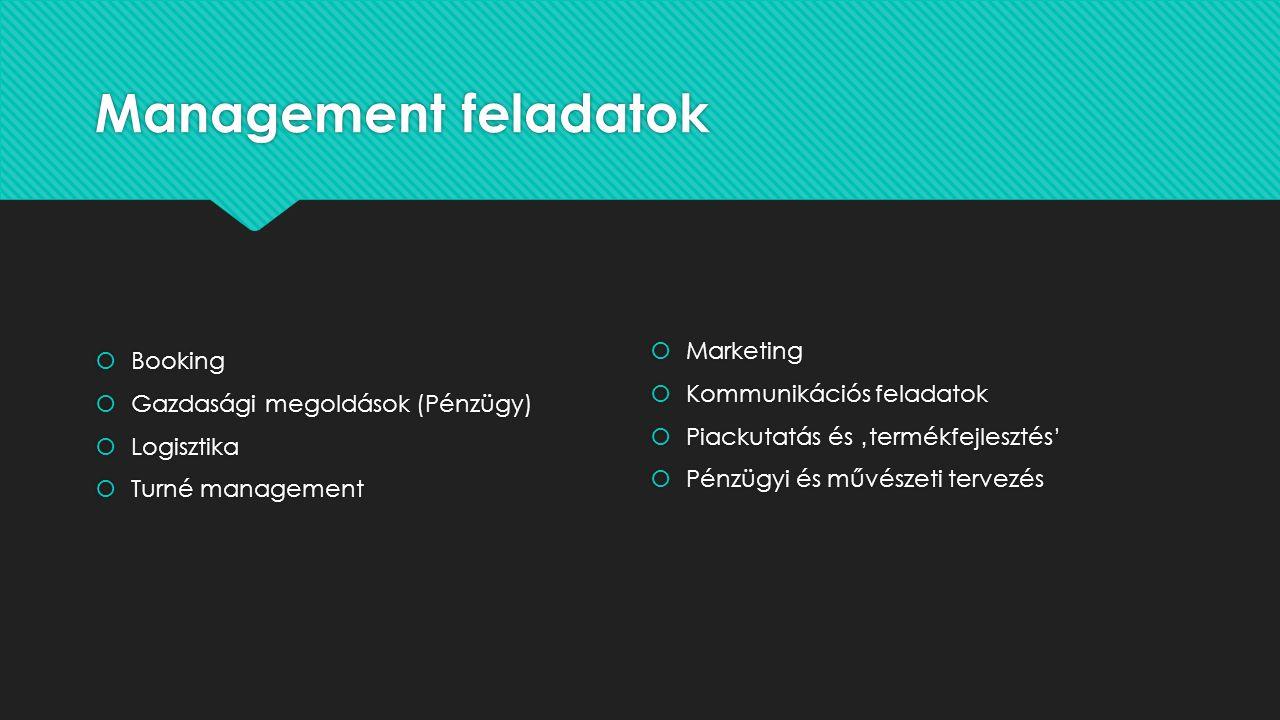 Management feladatok  Booking  Gazdasági megoldások (Pénzügy)  Logisztika  Turné management  Booking  Gazdasági megoldások (Pénzügy)  Logisztika  Turné management  Marketing  Kommunikációs feladatok  Piackutatás és 'termékfejlesztés'  Pénzügyi és művészeti tervezés  Marketing  Kommunikációs feladatok  Piackutatás és 'termékfejlesztés'  Pénzügyi és művészeti tervezés