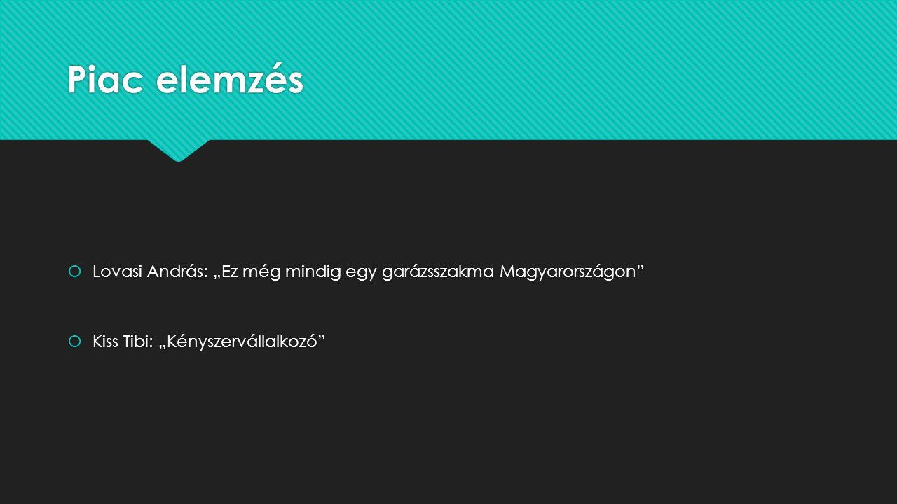 """Piac elemzés  Lovasi András: """"Ez még mindig egy garázsszakma Magyarországon""""  Kiss Tibi: """"Kényszervállalkozó""""  Lovasi András: """"Ez még mindig egy ga"""