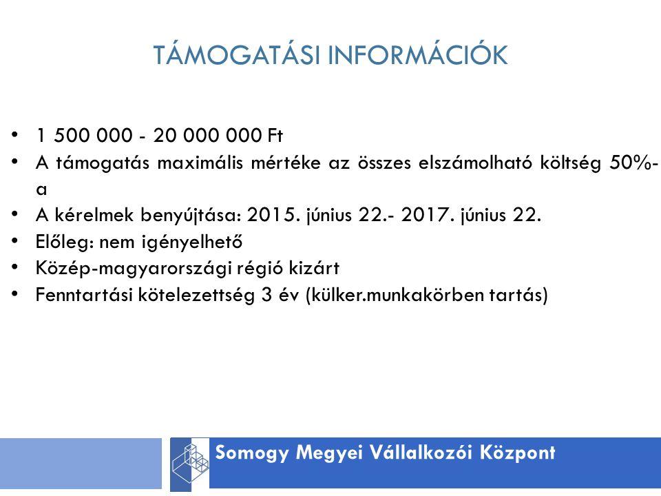 TÁMOGATÁSI INFORMÁCIÓK Somogy Megyei Vállalkozói Központ 1 500 000 - 20 000 000 Ft A támogatás maximális mértéke az összes elszámolható költség 50%- a A kérelmek benyújtása: 2015.