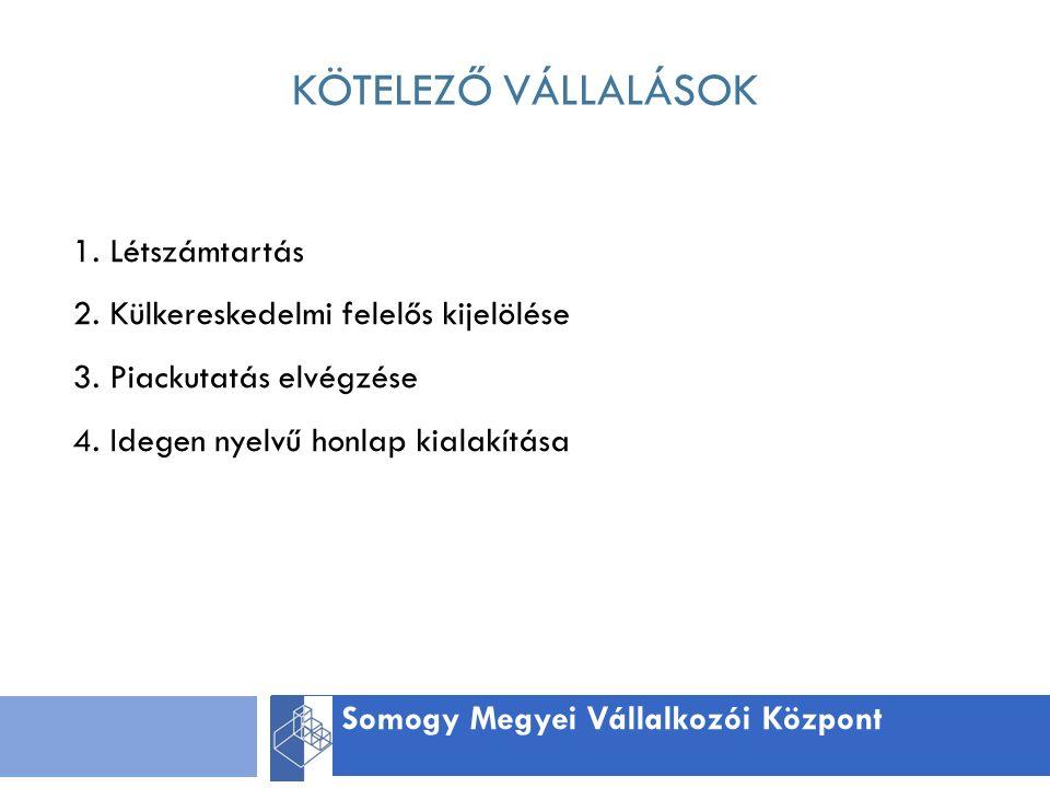 KÖTELEZŐ VÁLLALÁSOK Somogy Megyei Vállalkozói Központ 1.