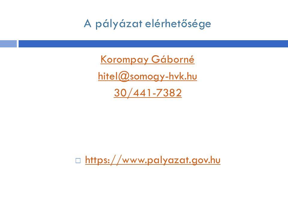 A pályázat elérhetősége Korompay Gáborné hitel@somogy-hvk.hu 30/441-7382  https://www.palyazat.gov.hu https://www.palyazat.gov.hu