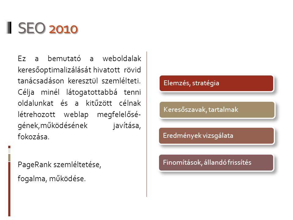 SEO 2010 Ez a bemutató a weboldalak keresőoptimalizálását hivatott rövid tanácsadáson keresztül szemlélteti.