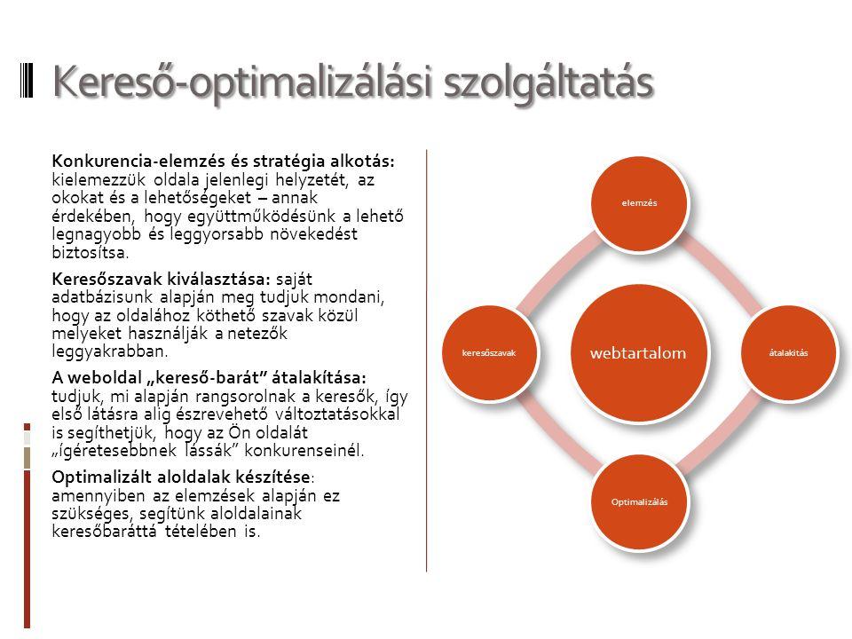 Kereső-optimalizálási szolgáltatás Konkurencia-elemzés és stratégia alkotás: kielemezzük oldala jelenlegi helyzetét, az okokat és a lehetőségeket – annak érdekében, hogy együttműködésünk a lehető legnagyobb és leggyorsabb növekedést biztosítsa.