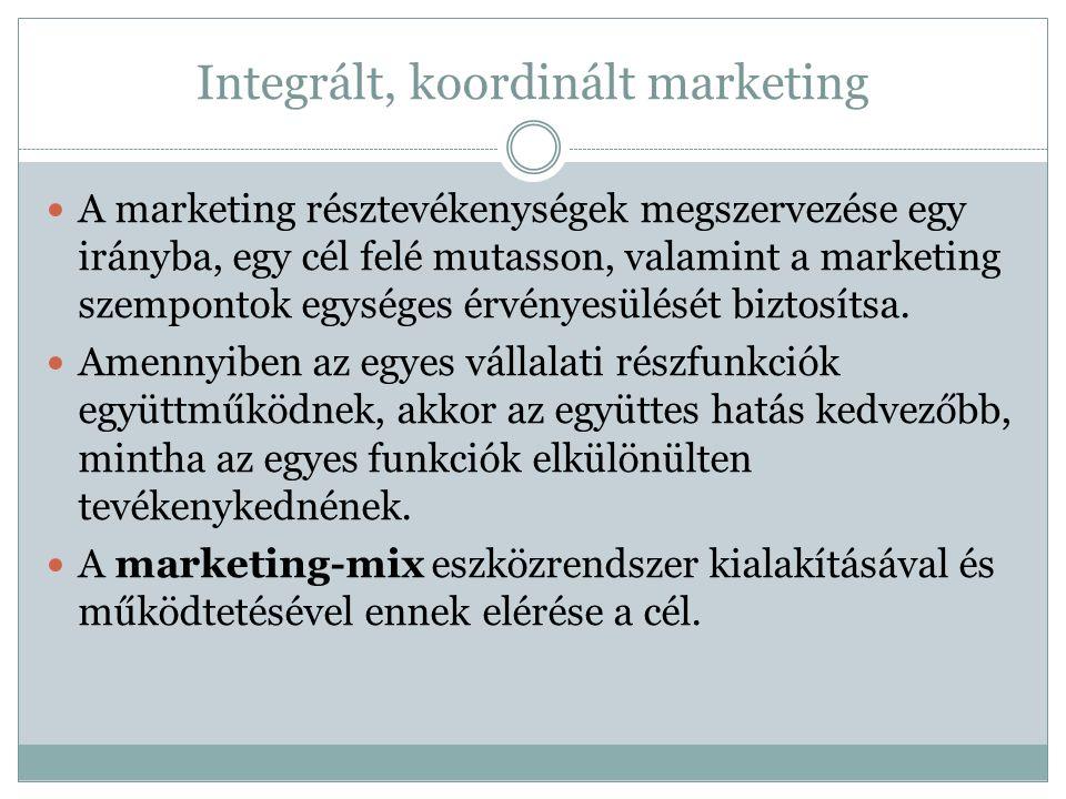 Integrált, koordinált marketing A marketing résztevékenységek megszervezése egy irányba, egy cél felé mutasson, valamint a marketing szempontok egységes érvényesülését biztosítsa.