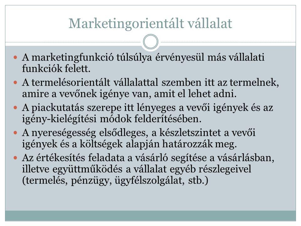Marketingorientált vállalat A marketingfunkció túlsúlya érvényesül más vállalati funkciók felett.