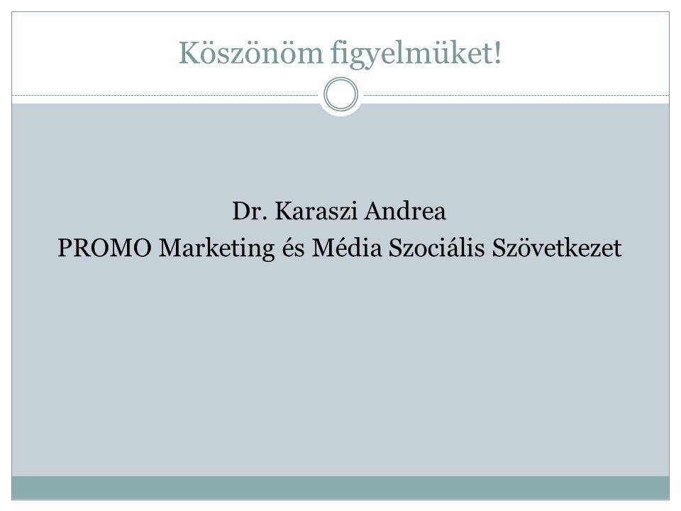 Köszönöm figyelmüket! Dr. Karaszi Andrea PROMO Marketing és Média Szociális Szövetkezet