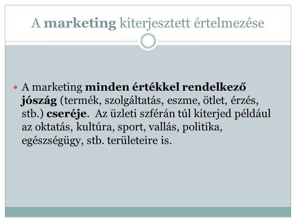 A marketing kiterjesztett értelmezése A marketing minden értékkel rendelkező jószág (termék, szolgáltatás, eszme, ötlet, érzés, stb.) cseréje.