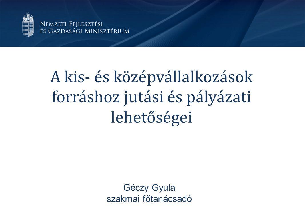 A kis- és középvállalkozások forráshoz jutási és pályázati lehetőségei Géczy Gyula szakmai főtanácsadó