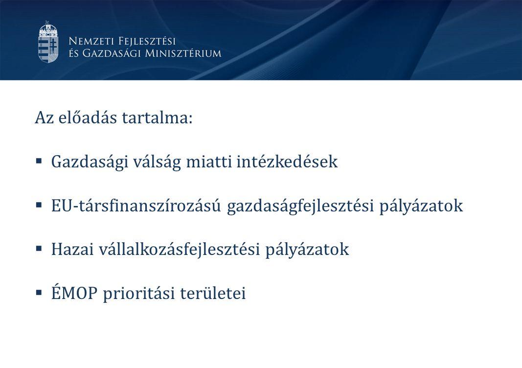 Az előadás tartalma:  Gazdasági válság miatti intézkedések  EU-társfinanszírozású gazdaságfejlesztési pályázatok  Hazai vállalkozásfejlesztési pályázatok  ÉMOP prioritási területei
