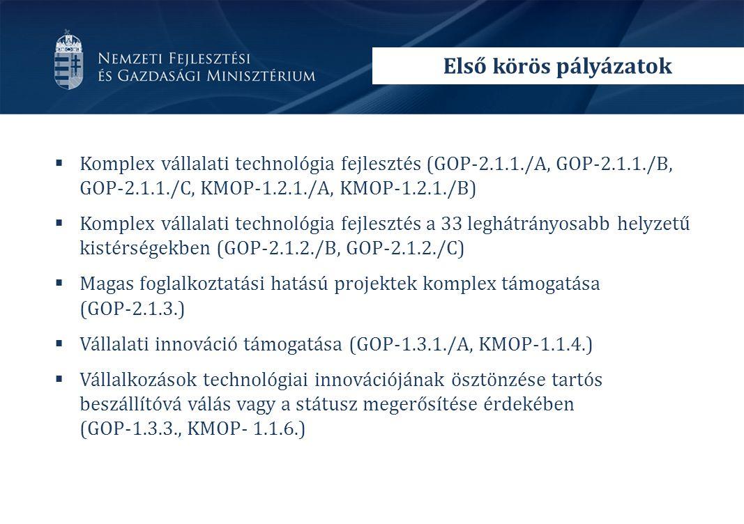  Komplex vállalati technológia fejlesztés (GOP-2.1.1./A, GOP-2.1.1./B, GOP-2.1.1./C, KMOP-1.2.1./A, KMOP-1.2.1./B)  Komplex vállalati technológia fejlesztés a 33 leghátrányosabb helyzetű kistérségekben (GOP-2.1.2./B, GOP-2.1.2./C)  Magas foglalkoztatási hatású projektek komplex támogatása (GOP-2.1.3.)  Vállalati innováció támogatása (GOP-1.3.1./A, KMOP-1.1.4.)  Vállalkozások technológiai innovációjának ösztönzése tartós beszállítóvá válás vagy a státusz megerősítése érdekében (GOP-1.3.3., KMOP- 1.1.6.) Első körös pályázatok