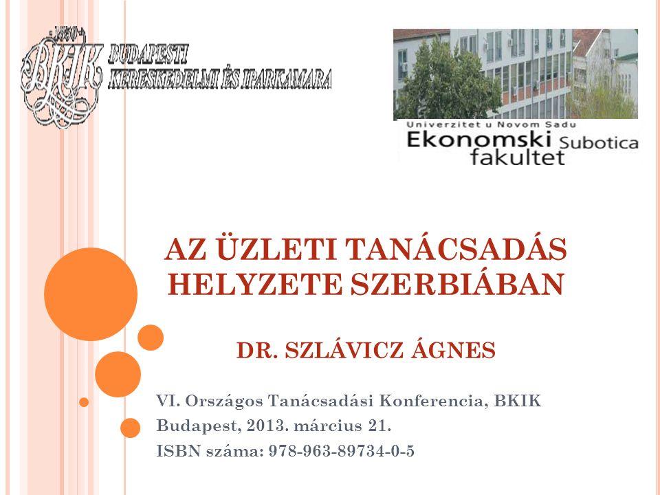 AZ ÜZLETI TANÁCSADÁS HELYZETE SZERBIÁBAN DR. SZLÁVICZ ÁGNES VI. Országos Tanácsadási Konferencia, BKIK Budapest, 2013. március 21. ISBN száma: 978-963