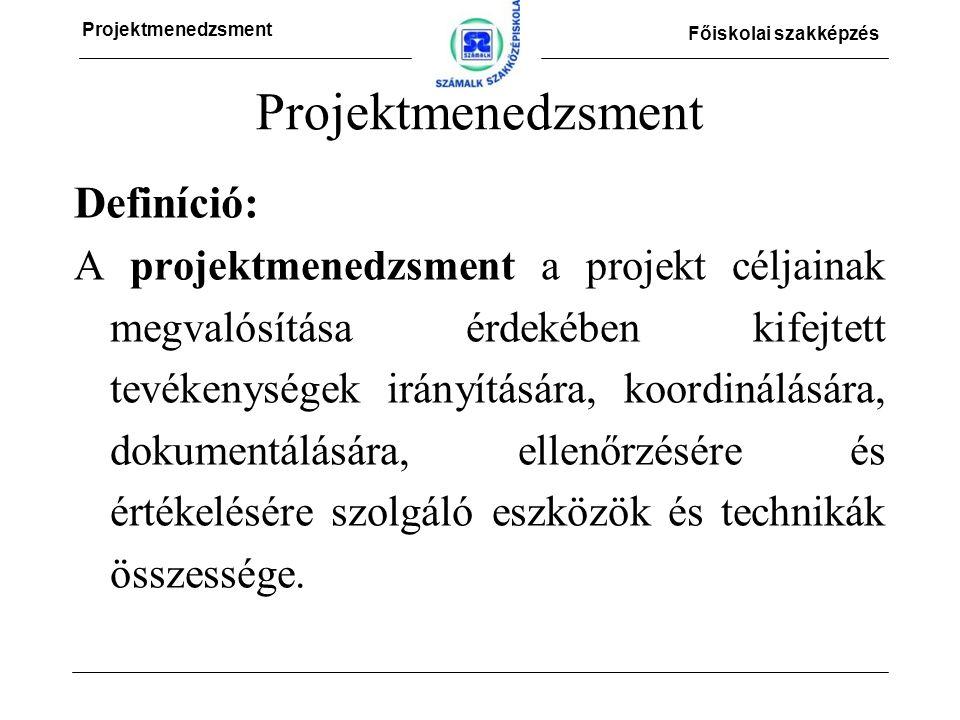 Projektmenedzsment Főiskolai szakképzés Projektmenedzsment Definíció: A projektmenedzsment a projekt céljainak megvalósítása érdekében kifejtett tevékenységek irányítására, koordinálására, dokumentálására, ellenőrzésére és értékelésére szolgáló eszközök és technikák összessége.