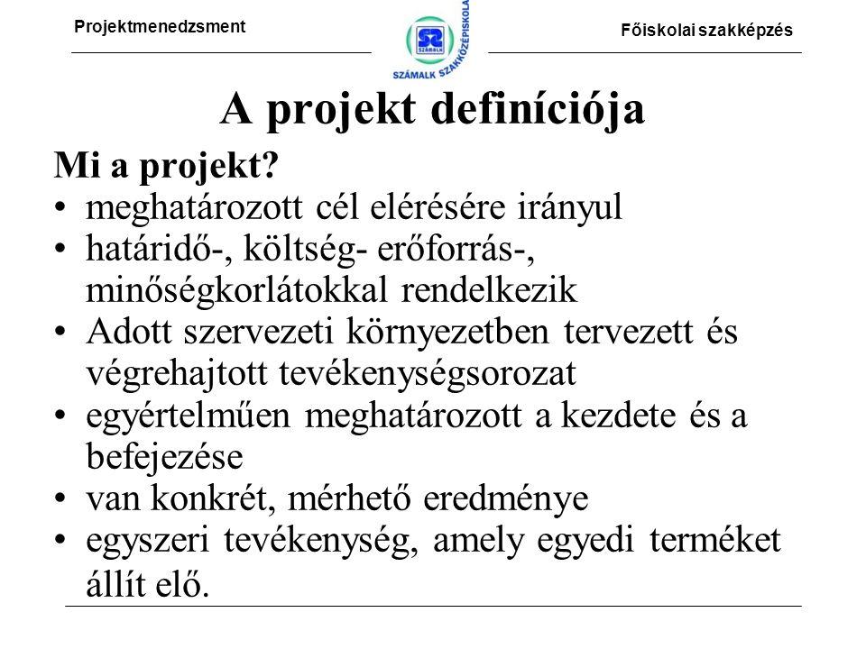 Projektmenedzsment Főiskolai szakképzés A projekt definíciója Mi a projekt.
