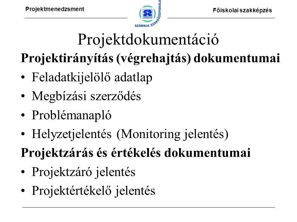 Projektmenedzsment Főiskolai szakképzés Projektdokumentáció Projektirányítás (végrehajtás) dokumentumai Feladatkijelölő adatlap Megbízási szerződés Problémanapló Helyzetjelentés (Monitoring jelentés) Projektzárás és értékelés dokumentumai Projektzáró jelentés Projektértékelő jelentés