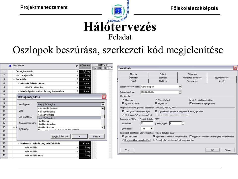 Projektmenedzsment Főiskolai szakképzés Hálótervezés Feladat Oszlopok beszúrása, szerkezeti kód megjelenítése