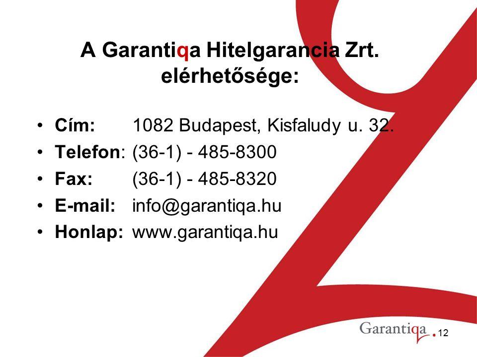 12 A Garantiqa Hitelgarancia Zrt. elérhetősége: Cím:1082 Budapest, Kisfaludy u.