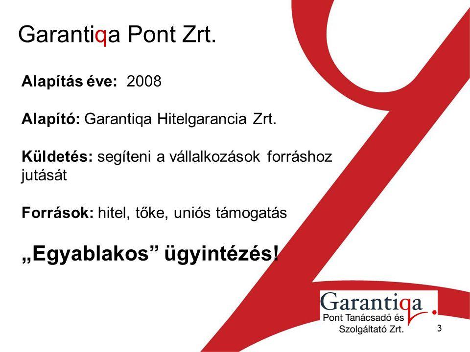 13 Garantiqa Pont Zrt. Alapítás éve: 2008 Alapító: Garantiqa Hitelgarancia Zrt.
