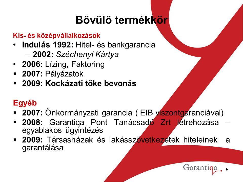 5 Bővülő termékkör Kis- és középvállalkozások Indulás 1992: Hitel- és bankgarancia –2002: Széchenyi Kártya 2006: Lízing, Faktoring  2007: Pályázatok  2009: Kockázati tőke bevonás Egyéb  2007: Önkormányzati garancia ( EIB viszontgaranciával)  2008: Garantiqa Pont Tanácsadó Zrt létrehozása – egyablakos ügyintézés  2009: Társasházak és lakásszövetkezetek hiteleinek a garantálása