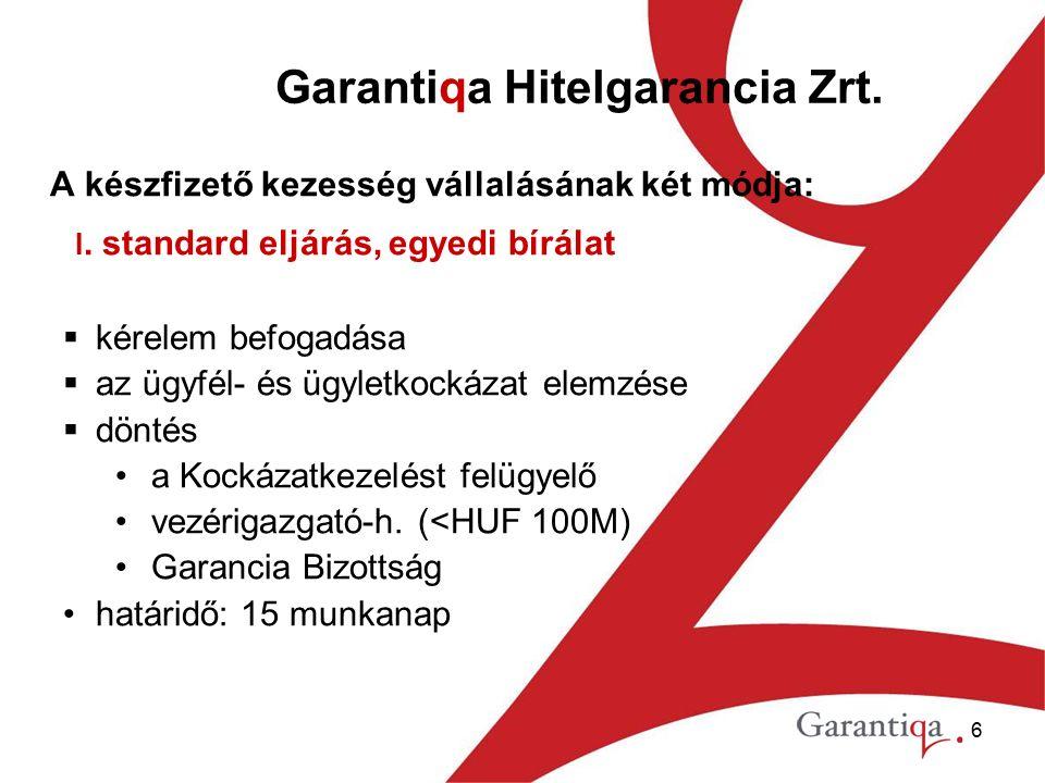 6 Garantiqa Hitelgarancia Zrt. A készfizető kezesség vállalásának két módja: I.