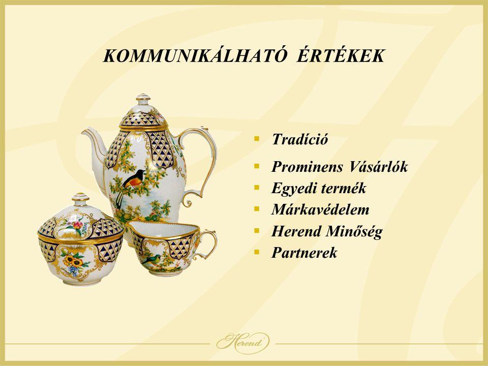 KOMMUNIKÁLHATÓ ÉRTÉKEK  Tradíció  Prominens Vásárlók  Egyedi termék  Márkavédelem  Herend Minőség  Partnerek