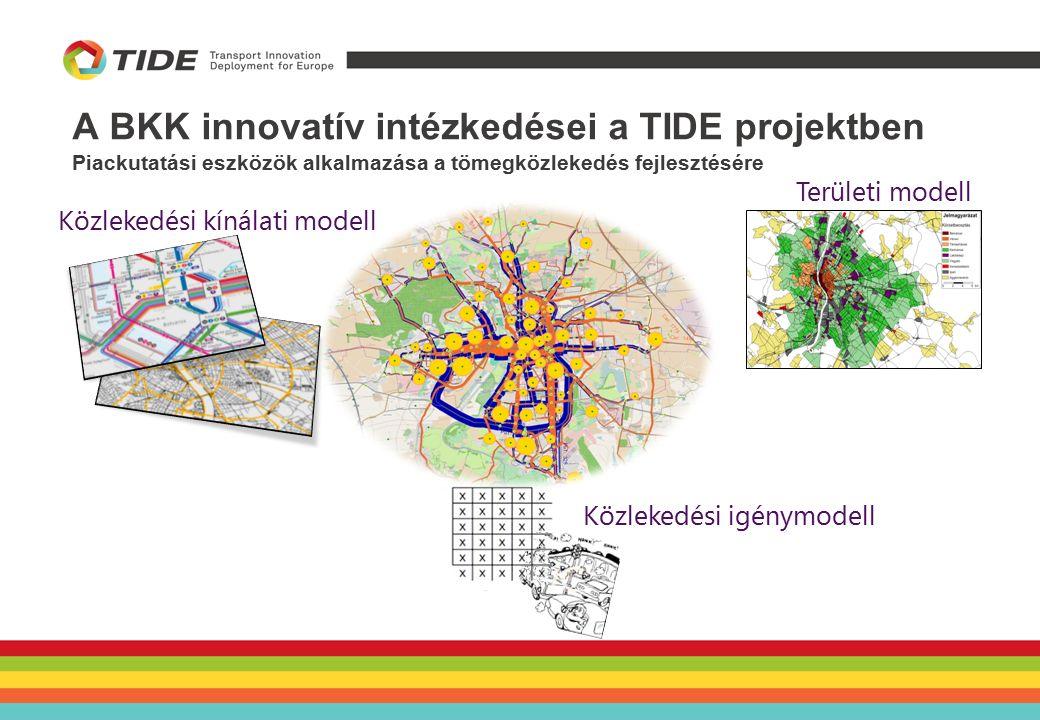A BKK innovatív intézkedései a TIDE projektben Piackutatási eszközök alkalmazása a tömegközlekedés fejlesztésére Területi modell Közlekedési igénymodell Közlekedési kínálati modell