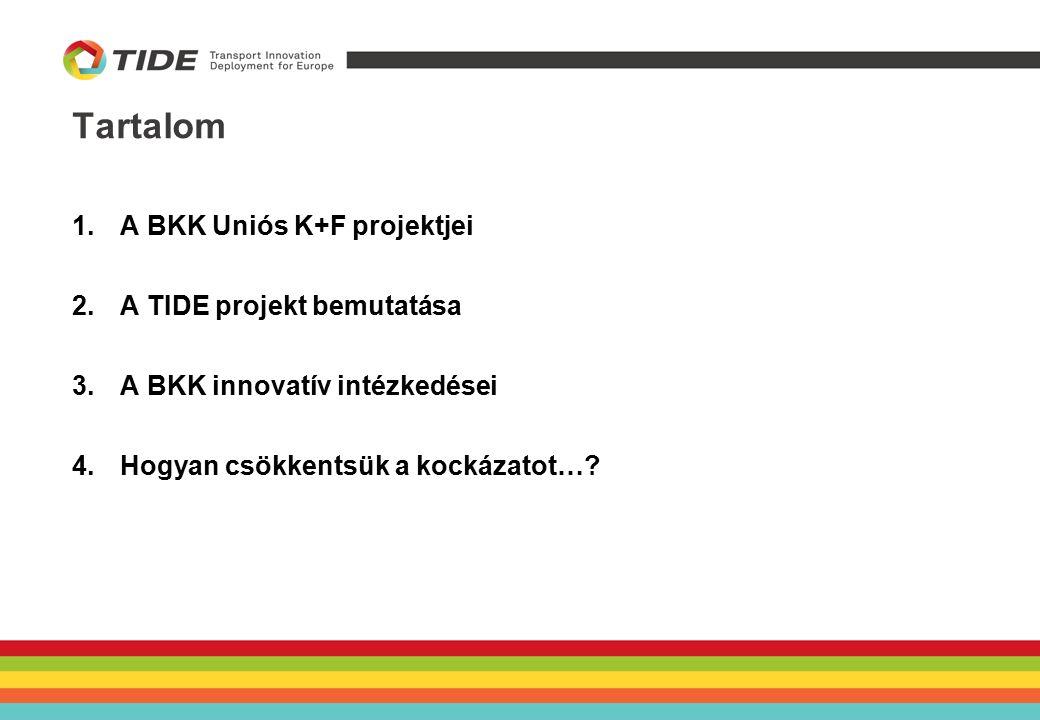 Tartalom 1.A BKK Uniós K+F projektjei 2.A TIDE projekt bemutatása 3.A BKK innovatív intézkedései 4.Hogyan csökkentsük a kockázatot…?