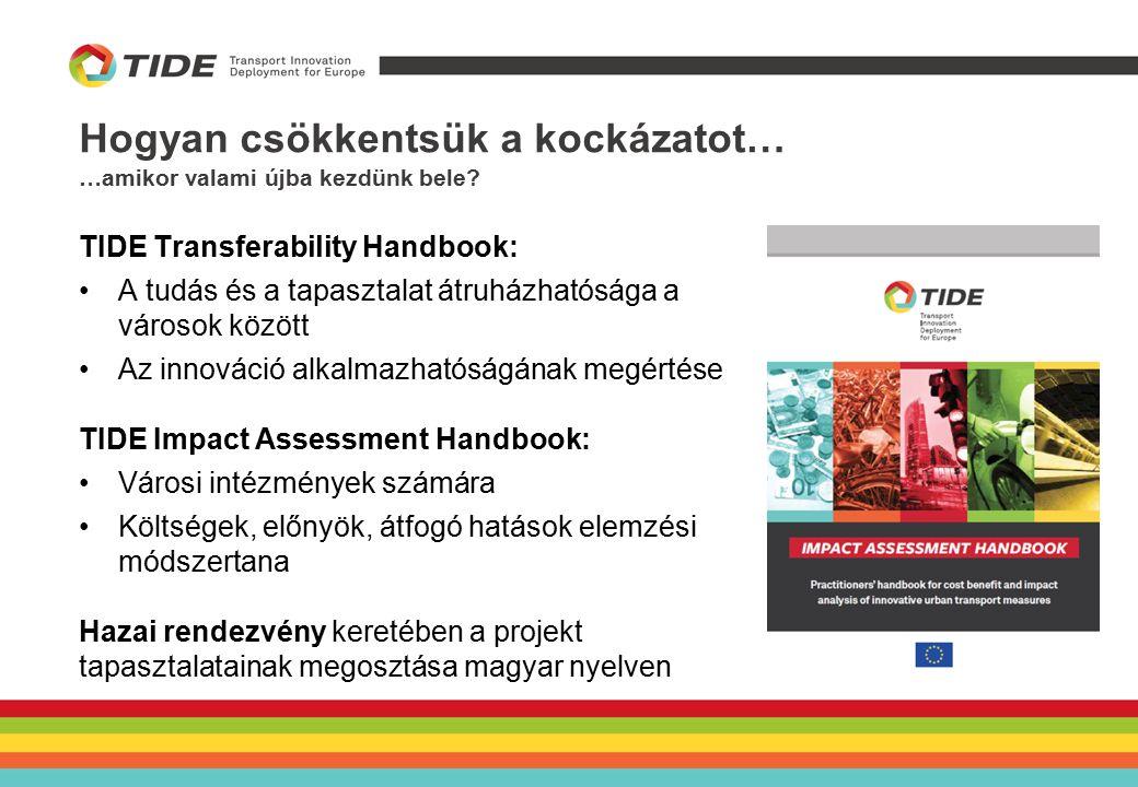 Hogyan csökkentsük a kockázatot… …amikor valami újba kezdünk bele? TIDE Transferability Handbook: A tudás és a tapasztalat átruházhatósága a városok k