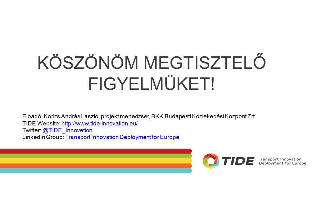 Előadó: Kőrizs András László, projekt menedzser, BKK Budapesti Közlekedési Központ Zrt. TIDE Website: http://www.tide-innovation.eu/http://www.tide-in