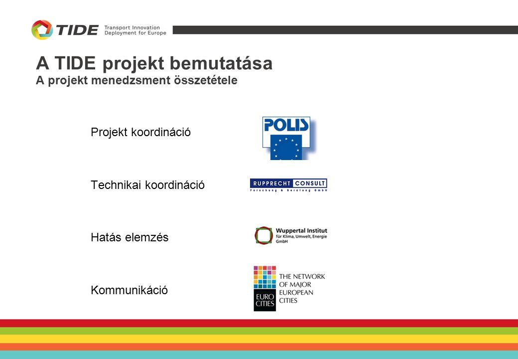 A BKK innovatív intézkedései a TIDE projektben Piackutatási eszközök alkalmazása a tömegközlekedés fejlesztésére Egységes Forgalmi Modell: Kialakítás alatt Nagy-volumenű adatfelvétel Várhatóan 2015 Q2-re készen lesz A TIDE szempontjából releváns: Háztartásfelvétel Jelenlegi valós és becsült távlati adatok nyerhetők Hálózat szintű fejlesztések modellezésére alkalmas