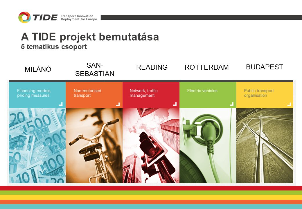 A TIDE projekt bemutatása TÖMEGKÖZLEKEDÉS SZERVEZÉSE Szakmai Támogató: Gdanski Egyetem Vezető város: Budapest Követő városok: Vilnius és Bologna Az 5.