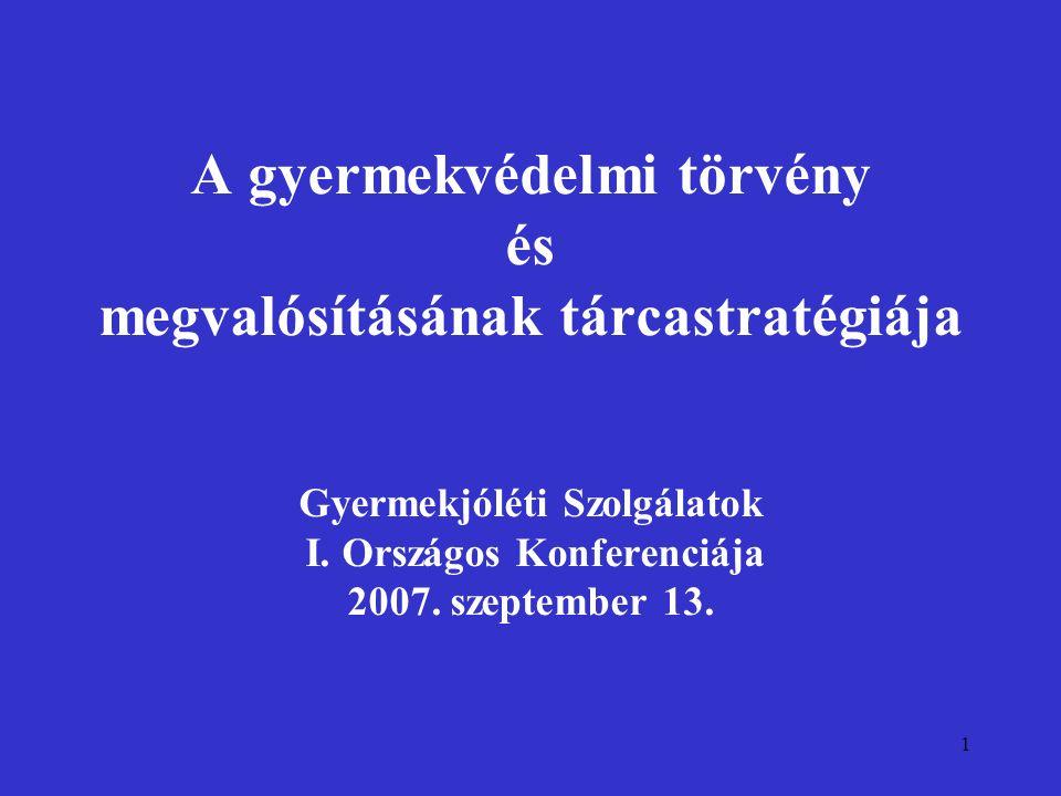 1 A gyermekvédelmi törvény és megvalósításának tárcastratégiája Gyermekjóléti Szolgálatok I. Országos Konferenciája 2007. szeptember 13.