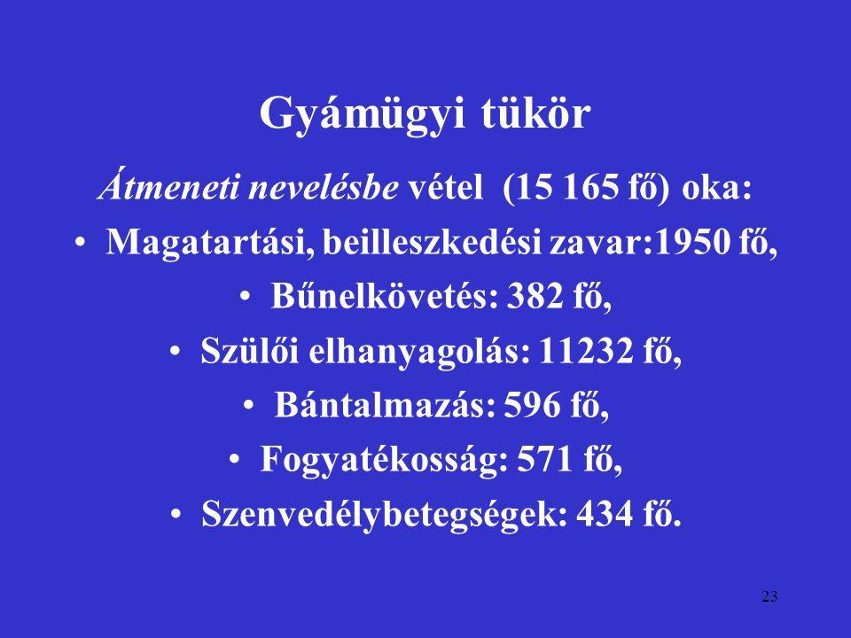 23 Gyámügyi tükör Átmeneti nevelésbe vétel (15 165 fő) oka: Magatartási, beilleszkedési zavar:1950 fő, Bűnelkövetés: 382 fő, Szülői elhanyagolás: 1123