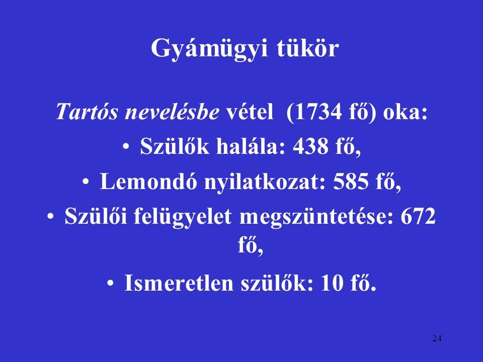 24 Gyámügyi tükör Tartós nevelésbe vétel (1734 fő) oka: Szülők halála: 438 fő, Lemondó nyilatkozat: 585 fő, Szülői felügyelet megszüntetése: 672 fő, I