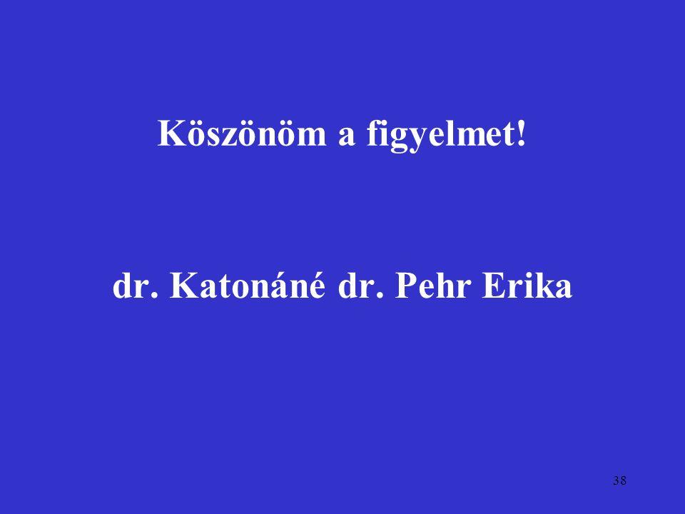 38 Köszönöm a figyelmet! dr. Katonáné dr. Pehr Erika