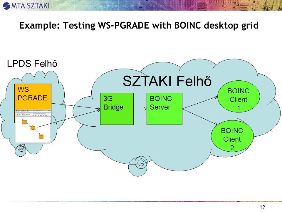 12 Example: Testing WS-PGRADE with BOINC desktop grid WS- PGRADE 3G Bridge BOINC Server BOINC Client 1 SZTAKI Felhő BOINC Client 2 LPDS Felhő