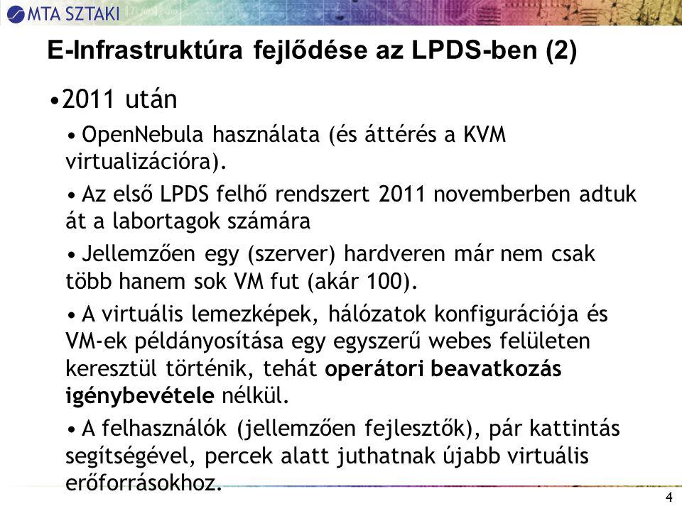 E-Infrastruktúra fejlődése az LPDS-ben (2) 2011 után OpenNebula használata (és áttérés a KVM virtualizációra).