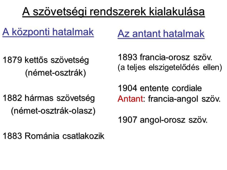 A szövetségi rendszerek kialakulása A központi hatalmak 1879 kettős szövetség (német-osztrák) 1882 hármas szövetség (német-osztrák-olasz) 1883 Románia csatlakozik Az antant hatalmak 1893 francia-orosz szöv.