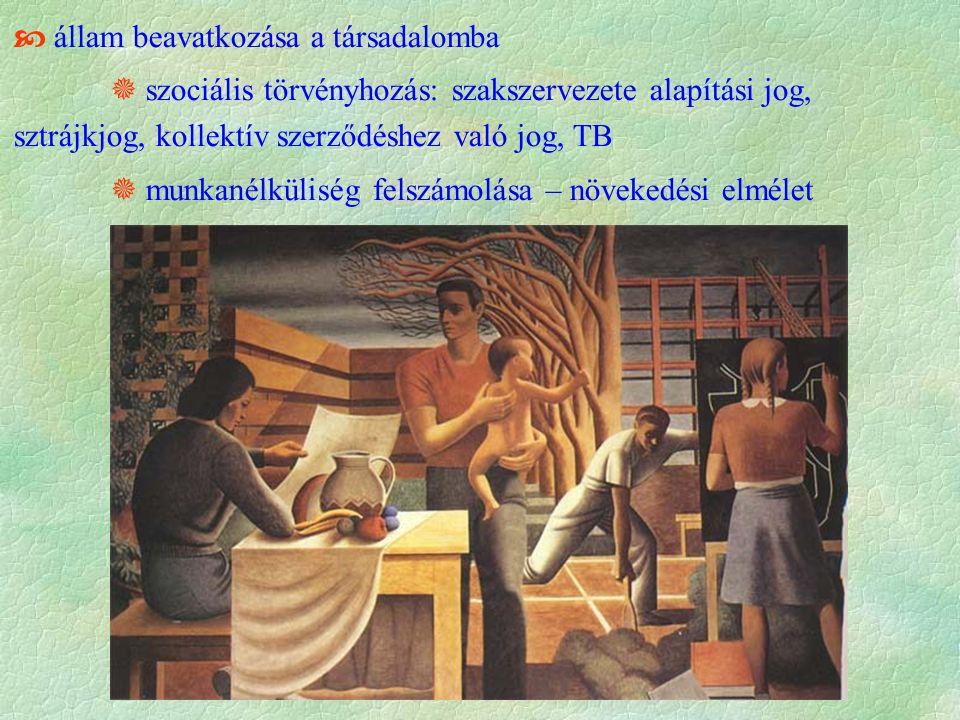  állam beavatkozása a társadalomba  szociális törvényhozás: szakszervezete alapítási jog, sztrájkjog, kollektív szerződéshez való jog, TB  munkanélküliség felszámolása – növekedési elmélet