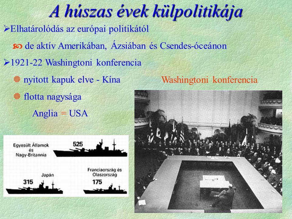 A húszas évek külpolitikája Washingtoni konferencia  Elhatárolódás az európai politikától  de aktív Amerikában, Ázsiában és Csendes-óceánon  1921-22 Washingtoni konferencia  nyitott kapuk elve - Kína  flotta nagysága Anglia = USA