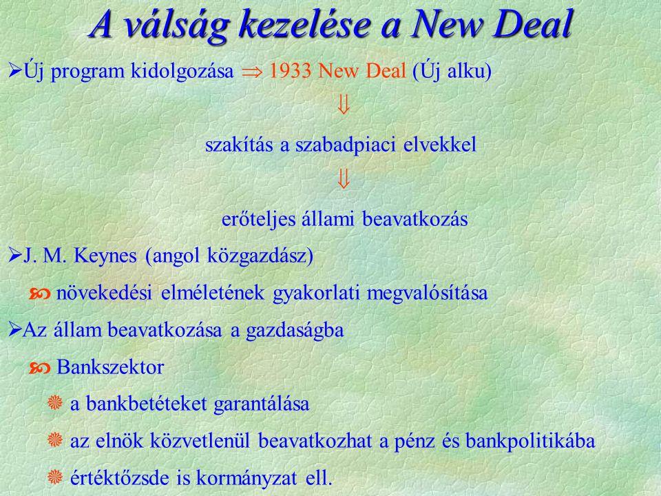 A válság kezelése a New Deal  Új program kidolgozása  1933 New Deal (Új alku)  szakítás a szabadpiaci elvekkel  erőteljes állami beavatkozás  J.