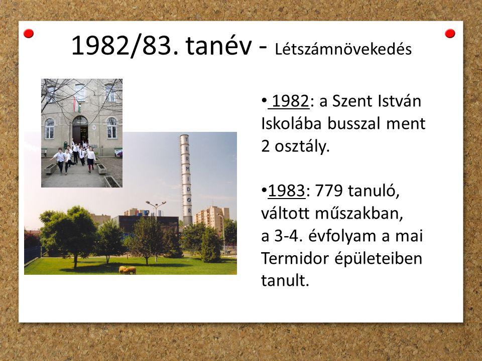1982/83. tanév - Létszámnövekedés 1982: a Szent István Iskolába busszal ment 2 osztály.