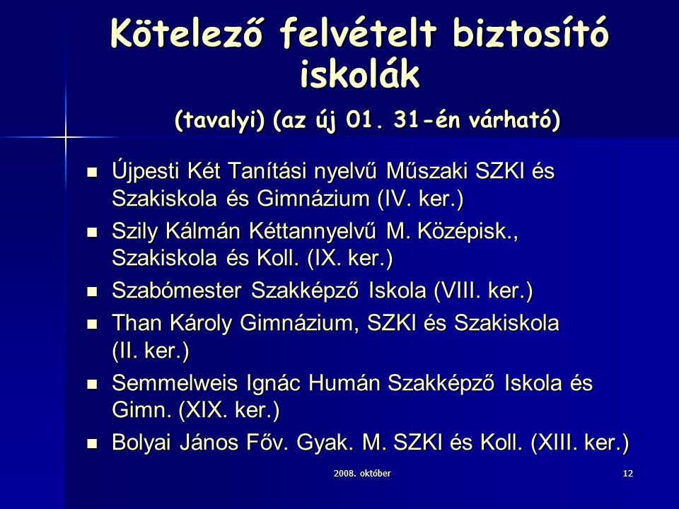 2008. október12 Kötelező felvételt biztosító iskolák (tavalyi) (az új 01. 31-én várható) Újpesti Két Tanítási nyelvű Műszaki SZKI és Szakiskola és Gim