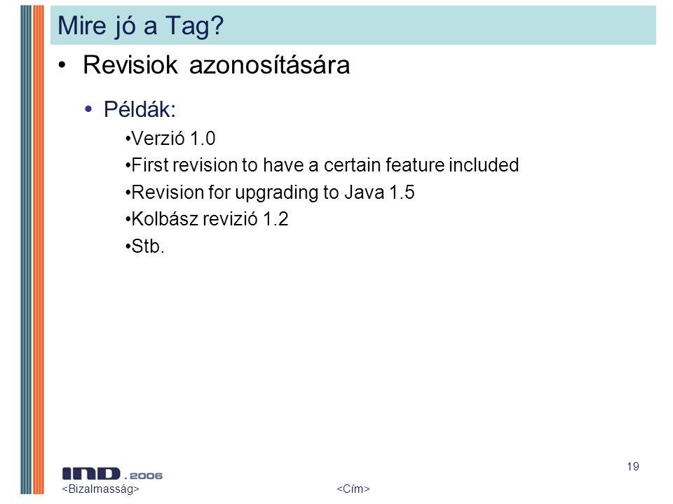 19 Mire jó a Tag? Revisiok azonosítására  Példák: Verzió 1.0 First revision to have a certain feature included Revision for upgrading to Java 1.5 Kol