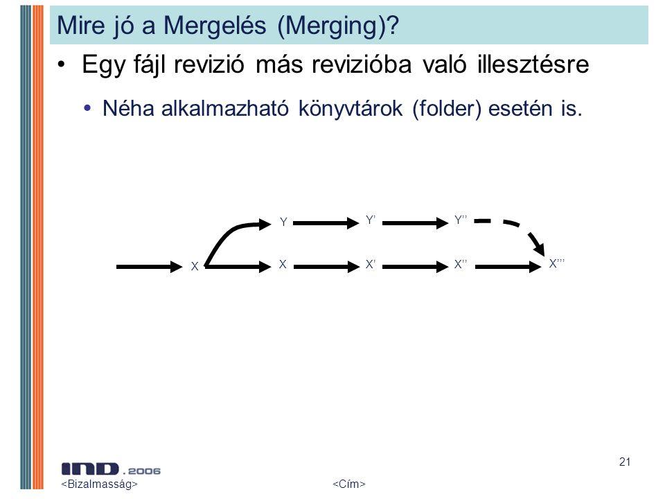 21 Mire jó a Mergelés (Merging)? Egy fájl revizió más revizióba való illesztésre  Néha alkalmazható könyvtárok (folder) esetén is. X Y XX' Y' X'' Y''