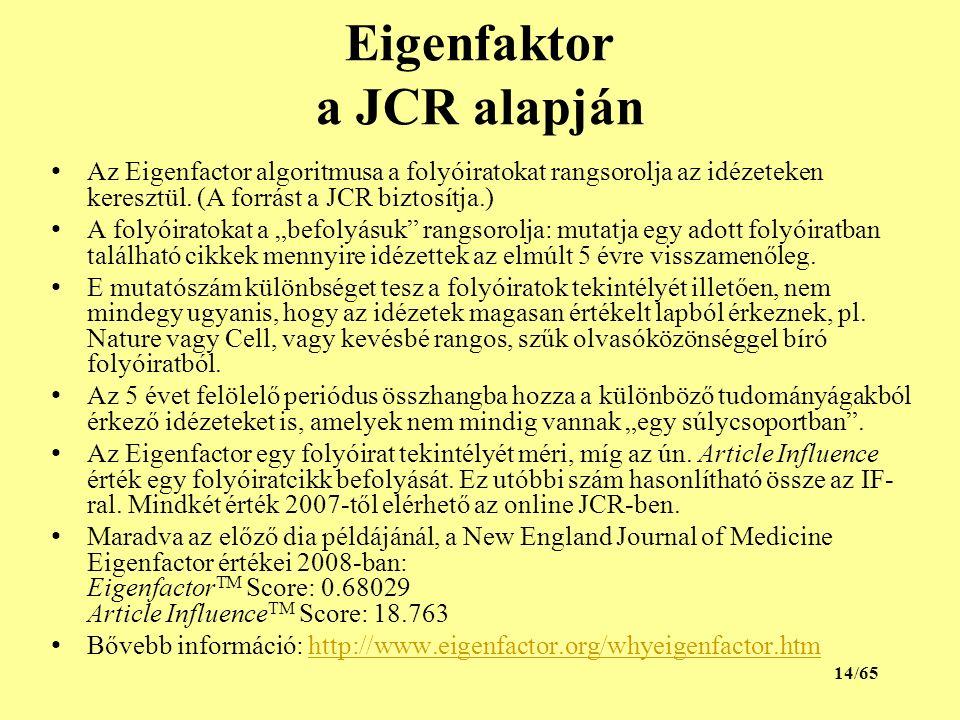 Eigenfaktor a JCR alapján Az Eigenfactor algoritmusa a folyóiratokat rangsorolja az idézeteken keresztül.