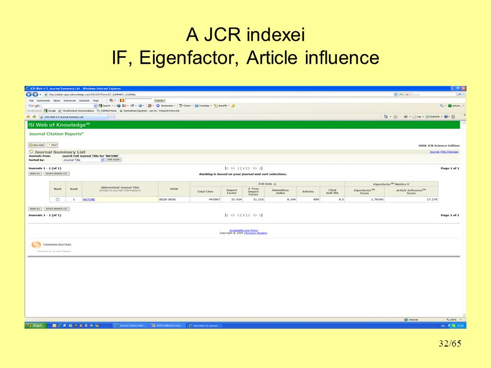 A JCR indexei IF, Eigenfactor, Article influence 32/65