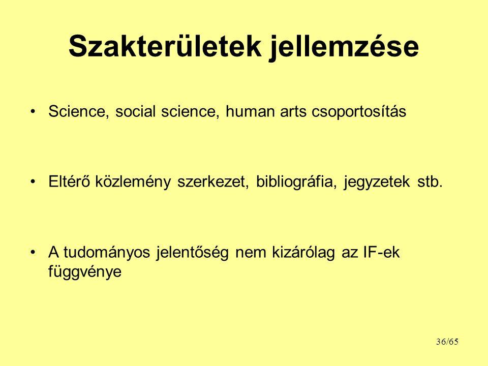 Szakterületek jellemzése Science, social science, human arts csoportosítás Eltérő közlemény szerkezet, bibliográfia, jegyzetek stb.