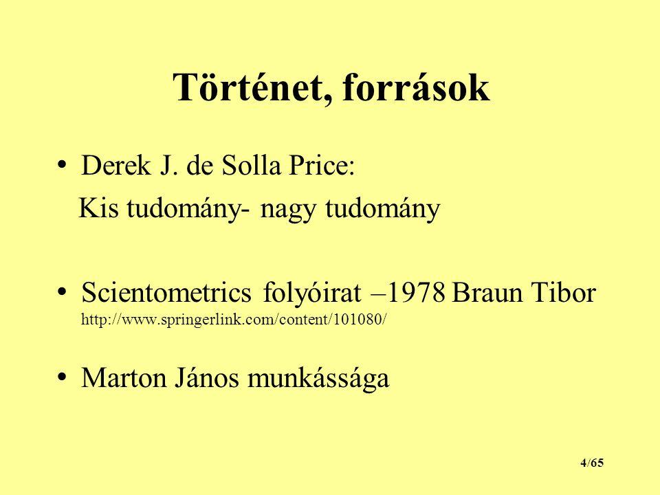 Történet, források Derek J. de Solla Price: Kis tudomány- nagy tudomány Scientometrics folyóirat –1978 Braun Tibor http://www.springerlink.com/content