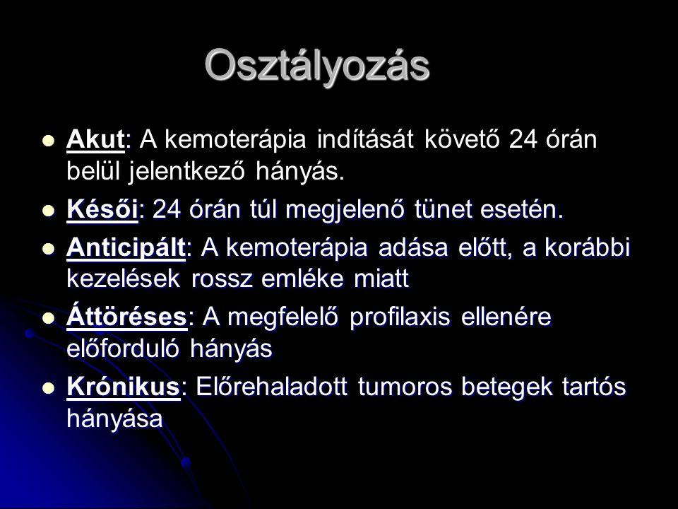 Osztályozás : Akut: A kemoterápia indítását követő 24 órán belül jelentkező hányás. Késői: 24 órán túl megjelenő tünet esetén. Késői: 24 órán túl megj